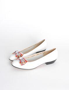 Vintage Ferragamo White and Plaid Bow Front Pump Shoes - Amarcord Vintage Fashion
