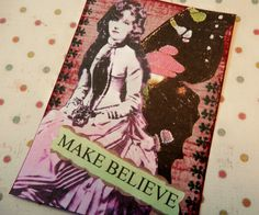 OOAK ACEO ATC collage and ink Make Believe by PaperPastiche, $6.00 #RT #jenbnr