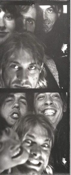 Kurt Cobain, Dave Grohl & Krist Novoselic in a photo booth #Nirvana