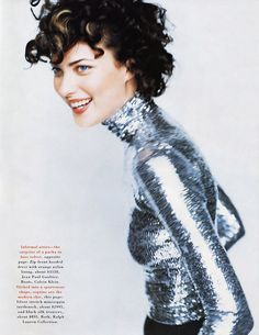 "US Harper's Bazaar September 1995 ""Eight Degrees of Evening"" Model: Shalom Harlow Photographer: Mario Testino Hair: Julien d'Ys Makeup: Dick Page"