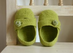Organic baby shoes, Eco friendly baby shoes, Felted green baby girls shoes booties beaded buttons Size 3 - Green girls boots - Ready to Ship. $29.00, via Etsy.