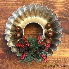 Baking pan Christmas wreath, by Artsy Va Va, featured on Funky Junk Interiors