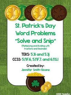 St. Patrick's Day Word Problems Solve and Snip- 5th & 6th Grade
