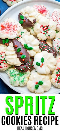 Low Carb Recipes To The Prism Weight Reduction Program Spritz Cookies Are A Buttery And Delicious It's The Perfect Cookie For Your Next Holiday Party Or Cookie Exchange, Share A Batch Of These Adorable Cookies. Best Spritz Cookie Recipe, Delicious Cookie Recipes, Dessert Recipes, Spritz Cookie Press, Bar Recipes, Dessert Bars, Christmas Desserts, Christmas Baking, Christmas Foods