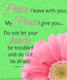 John (ESV) Peace I leave with you; my peace I give to you. Let not your hearts be troubled, neither let them be afraid. Biblical Quotes, Religious Quotes, Bible Verses Quotes, Bible Scriptures, Spiritual Quotes, Faith Quotes, Scripture Images, Bible Art, John 14 27