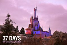 """37 Days until our next Disney Vacation!  We are counting the days to our next Disney trip with our favorite pics taken at the parks. This photo is of the Enchanted Castle at The Magic Kingdom during a sunset. Let us know if you """"Like""""."""