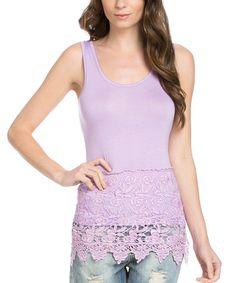 Loving this Lilac Layered Crochet-Hem Tank on #zulily! #zulilyfinds