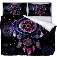 Dreamcatcher Bedding Duvet Cover or Comforter Twin Full Queen King Rug... ($29) ❤ liked on Polyvore featuring home, bed & bath, bedding, duvet covers, dark olive, home & living, zip pillow case, queen pillow shams, queen pillowcases and king size pillowcases
