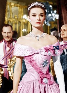 Audrey Hepburn in Roman Holiday,1953. I never realized that dress was pink!
