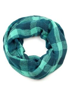 Plaid teal and mint infinity scarf. Soft and cozy.