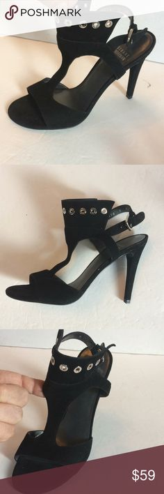 "New Stuart Weitzman Suede Ring Embellished Sandals Nice. Ew pair of Black Suede sandals. Open toe with wide silver ring Embellished ankle crown. Adjustable strap. Leather lining and leather sole. Suede heel is 4-1/2"". Made in Spain. 7M Stuart Weitzman Shoes Sandals"