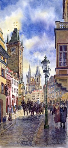 Prague Old Town Square 01 Painting - Prague Old Town Square 01 Fine Art Print
