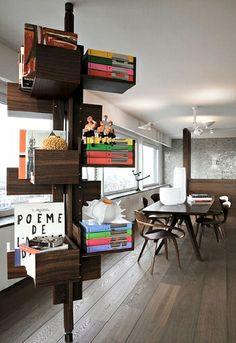 Great Shelving.  Kate Hume | Penthouse Amsterdam, Modern Ideas, Stylish shelving.