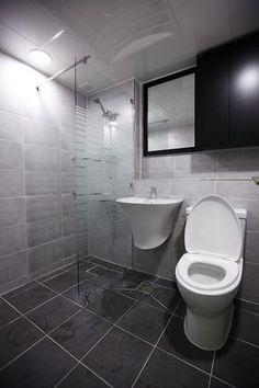 죽전 한양수자인 앞파트 리모델링 : DESIGNSTUDIO LIM_디자인스튜디오 림의  화장실 Dressing Room, Bathroom Interior, Corner Bathtub, Toilet, Shower, Bathroom Designs, Bath Room, Architecture, Environment