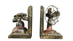 Vintage Telephone/Fan Bookends