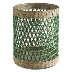 SEVILLE Green woven seagrass hurricane lantern 20 x 15cm