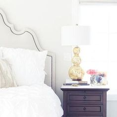 Gold Table Lamp, Transitional, bedroom, Pink Peonies