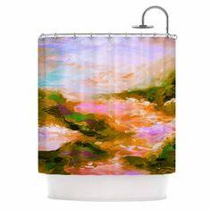 """Ebi Emporium """"Taken By The Undertow 2"""" Pink Orange Shower Curtain"""