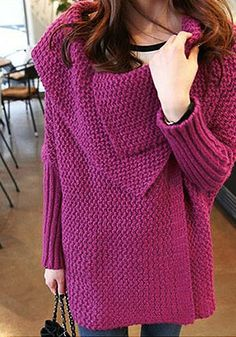 Batwing Sweater Coat - Plum - Chunky Knit Sweater
