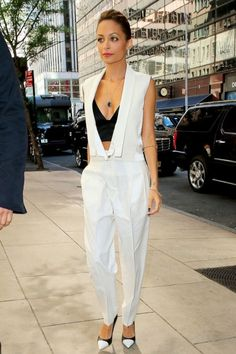 Nicole-Richie- Today-Show-J- Brand-Vest- Trousers- Alexander-Wang- Bustier-Saint- Laurent-Captoe- Pumps2