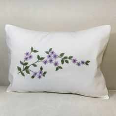 Hand Embroidered pillow cotton Very petty little flowers in lavender color This pillow goes well with any room Insert is polyester Can be wash in cold water Hang to dry and iron inside out The price is for one pillow Cushion Embroidery, Embroidery Flowers Pattern, Hand Embroidery Designs, Embroidery Patterns, Embroidery Stitches, Cushion Cover Designs, Pillow Cover Design, Floral Bedspread, Pillow Crafts