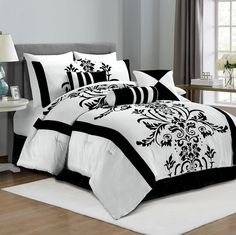 Chezmoi Collection 7-Piece White with Black Floral Flocking Comforter Set Bed-in-a-Bag for Queen Size Bedding