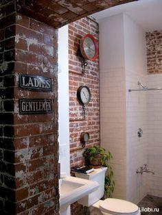 Exposed Brick Bathroom - Joel & McKenzie's loft from Apartment Therapy Loft House, Live Work Lofts, Brick Tiles, Exposed Brick, Apartment Bathroom, Brick Bathroom, Loft Apartment, Loft Bathroom, Bathroom Design