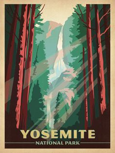 Yosemite National Park - After winning international acclaim for creating the Spirit of Nashville  Collection, designer and illustrator Joel Anderson set out to create a  series of classic travel posters that celebrates the history and charm  of America's greatest cities and national parks. He directs a team of  talented Nashville-based artists to keep the collection growing.
