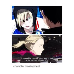 I mean, it is still posed as a threat in both situations, but you can tell Yurio has gotten much closer to Yuri (or more competitive, you can see it either way).