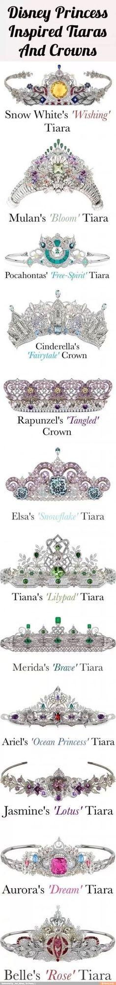 12 Disney Princess Tiaras And Crowns…All Set With Beautiful Diamonds, Gems Precious Stones. - I'll take the Cinderella, Rapunzel and of course Ariel tiara, please! Walt Disney, Disney Mode, Disney Fun, Disney Girls, Disney Style, Disney Magic, Disney Nerd, Disney And Dreamworks, Disney Pixar