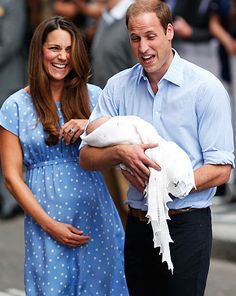 Will and Kate laughing, probably at William's comment on Baby George's good set of lungs..