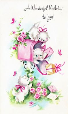 """""""A Wonderful Birthday to You!"""" - white kittens  playing in mailbox"""