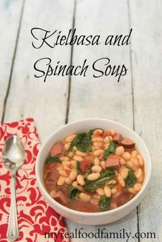 Slow cooker Kielbasa and Spinach soup is easy to make in the slow cooker and satisfies the heartiest of appetites.