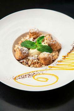 Paris-Brest en espuma, crème glacée aux amandes