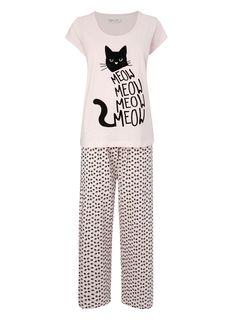Multi Pink Meow Cat Pyjamas - pyjamas - nightwear - Women- BHS