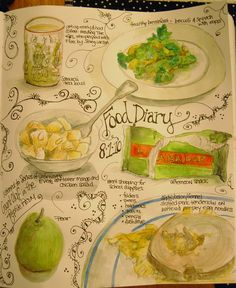 Line Drawing Food in Scrapbook