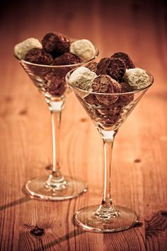 chocolate truffles. serve dessert in classy glass. could also work with munchkins for a ladies' breakfast.