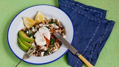 The simple addition of poached eggs takes this dish from zero to hero in no time. You can even use leftover or pre-cooked rice. 500 Calorie Meals, Easy Rice Recipes, Veggie Delight, Rice Bowls, Poached Eggs, Simple Addition, Brown Rice, Black Beans, Food Dishes