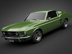 1967 Ford Mustang Fastback in lime green