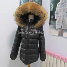 women winter puffer jacket with raccoon fur hooded