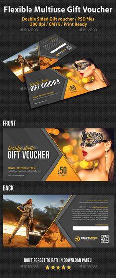 Flexible Multiuse Gift Voucher Template PSD