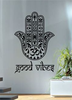 Good Vibes Hamsa Hand Version 1 Decal Sticker Wall by BoopDecals