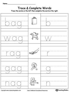 **FREE** AG Word Family Workbook for Kindergarten Worksheet. Topics: Reading, and Word Families.