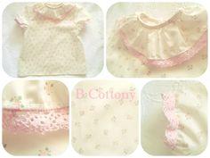 Camisa de manga curta crua com florzinhas cor de rosa e gola de folhos com renda de algodão cor de rosa  Ecru shirt whit pink flowers and pink cotton lace