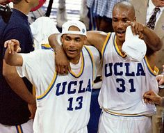 Charles and Ed O'Bannon celebrating UCLA winning the NCAA Basketball Championship in Basketball Shoes On Sale, New York Basketball, Jazz Basketball, Basketball Legends, College Basketball, Basketball Shooting Drills, College Hoops, Celebrity Siblings, Ucla Bruins
