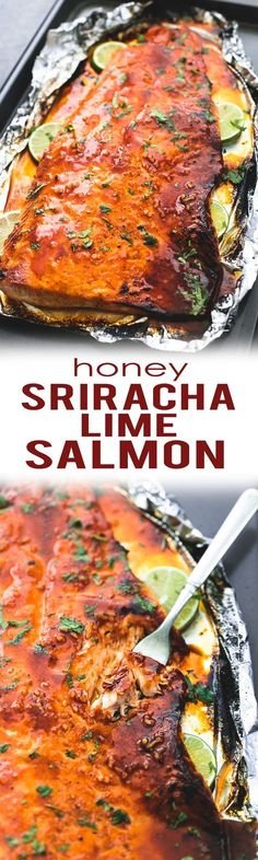 Tasty, sweet and spicy, baked honey sriracha lime salmon in foil is tender and flaky and has the most incredible flavors. A healthy and easy 30 minute meal for salmon lovers. | http://lecremedelacrumb.com