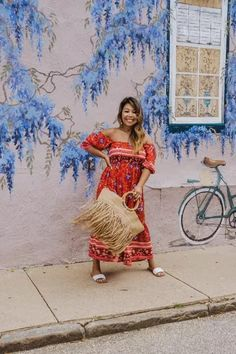 red dress, off the shoulder maxibdress, summer outfit, woven bag, fringe summer bag, white sandals Hot Summer Outfits, Red One Piece, Flutter Sleeve Top, Weekend Wear, Only Fashion, Outfit Posts, Fourth Of July, Her Style, Street Style