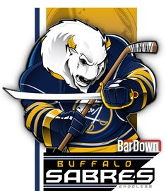 The lowly Buffalo Sabres actually look kinda badass when rendered by the inimitable epoole88.  Check out the rest of Eric Poole's work at epoole88.tumblr.com