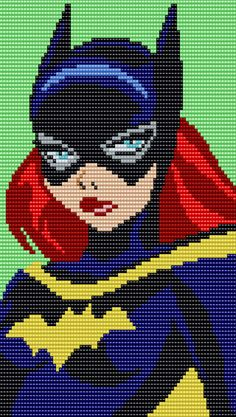Bat Girl - 80 Columns X 110 Rows - Square Grid Pattern by me, Man in the Book Beaded Cross Stitch, Crochet Cross, Cross Stitch Charts, Cross Stitch Embroidery, Cross Stitch Patterns, Pixel Art Super Heros, Perler Bead Art, Perler Beads, Marvel Cross Stitch