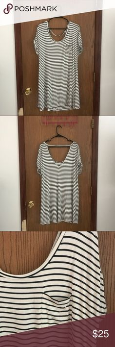 American Eagle Soft and Sexy Dress American Eagle Outfitters Striped T-Shirt Shift Dress. Great condition size XL. I love this style! Perfect for Summer but it's too large on me! From their Soft and Sexy line. So comfy!!! American Eagle Outfitters Dresses Midi